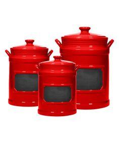 Red Chalkboard Canister   Set Of Three #zulily #zulilyfinds