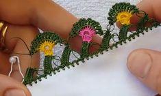 rengarenk-kiprikli-kolay-tig-oyasi-yapilisi Crochet Edging Patterns Free, Free Pattern, Needle Lace, Crochet Blouse, Color Theory, Baby Booties, Crochet Flowers, Tatting, Diy And Crafts