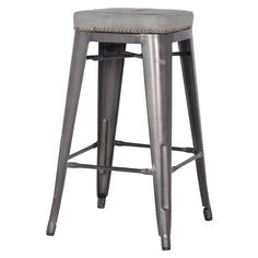 "Metropolis KD PU Metal Backless Counter Stool, Vintage Mist Gray  Dimensions:   17.00""w   17.00""d   27.50""h   Material:   PU, Powder Coated Steel"