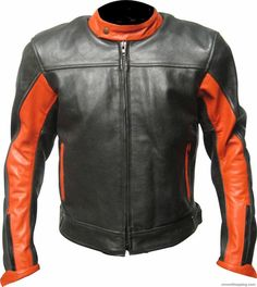 Welcome To Our Store New York Leather Thanks For Visiting Us Customized Men's Handmade Black With Orange Contrasting Strips Biker Leather Jacket New Fashion Make To Order In this Era everyone wants something new and different. So here is ano...