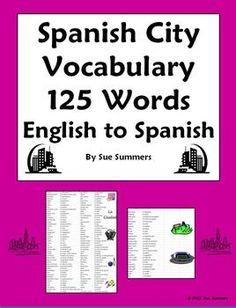 Spanish City Places Vocabulary Reference by Sue Summers - Lugares en la Ciudad