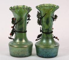 Lot:PAIR OF ART NOUVEAU LOETZ GLASS VASES - with applied, Lot Number:611…