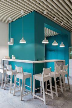 You coffe. Mint on Behance Cake Shop Interior, Cafe Interior Design, Modern Interior, Blue Cafe, White Cafe, Colorful Restaurant, Restaurant Design, Bakery Shop Design, Blue Wall Colors