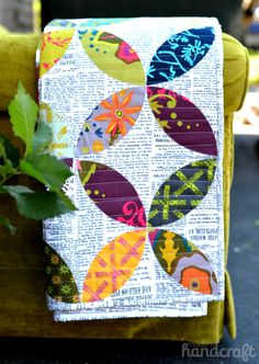Modern Handcraft - Field Day Quilt - petals / leaves, text prints and bold colors