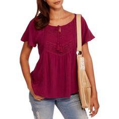 9908a13e0a7 No Boundaries Juniors  Tie-Front Peasant Top - Walmart.com Walmart Outfits