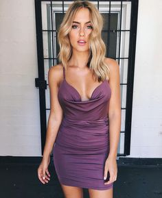 """""""Pretty party pics - stand out in the crowd in this super cute slinky dress! Semi Formal Hairstyles, Steph Claire Smith, Casual Outfits, Fashion Outfits, Going Out Outfits, Blonde Balayage, Bikini Models, Tight Dresses, Purple Dress"""