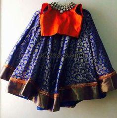 Royal Blue Lehenge Orange Blouse - Indian Dresses