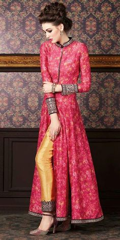 Zealous Pink Silk Anarkali Suit With Dupatta.