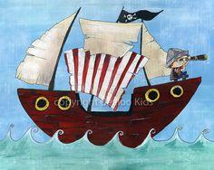 Pirate Art  8x10 Pirate Ship Print by bealoo on Etsy, $15.00