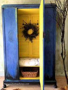 Hand Painted Antiques and Vintage Furniture by DogwoodVintageDesign Armoire Makeover, Wardrobe Makeover, Diy Wardrobe, Furniture Makeover, Armoire Redo, Kitchen Armoire, Cute Furniture, Wardrobe Furniture, Painted Bedroom Furniture
