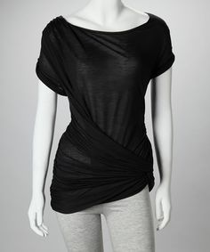 Vanessa Knox | Black Emilia Tee - such a cute twist on the standard tee