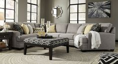 "The simple yet elegant Aubrey Sectional speaks volume in the living room. The pewter gray fabric gives it the contemporary look. With the different pieces, you can piece your own configuration to fit any room design. DIMENSIONS : LAF Loveseat  :61"" W x 39"" D x 40"" H RAF Cuddler  : 59"" W x 46"" D x 40"" H Wedge  : 39"" W x 39"" D x 40"" H Armless Loveseat : 52"" W x 39"" D x 40"" H Ottoman : 38"" W x 38"" D x 18"" H"
