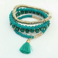 Blue  Gold Beads tassel Bracelet Blue  Gold Beads tassel Bracelet Jewelry Bracelets