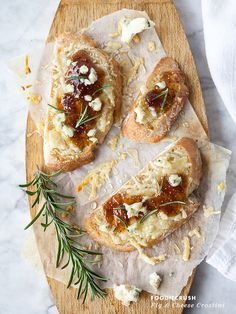 Fig Spread and Cheese Crostini Appetizer || FoodieCrush.com