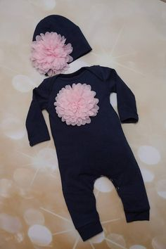 1e9f58224d2d Navy Infant Layette Cotton Baby Romper with Large Chiffon On The Chest and  Matching Hat