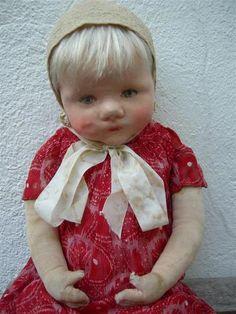 Alte Käthe Kathe Kruse Puppe Du Mein, Stoffkopf, Perücke, ca 50cm   eBay