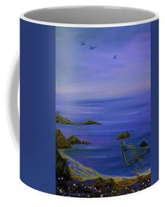 Coastal Coffee Mug featuring the painting Seaside Boat by Faye Anastasopoulou