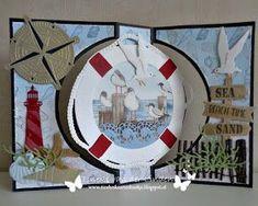 Tineke's kaartenhoekje: Nog meer strandcreaties... Flip Cards, Fancy Fold Cards, Big Shot, Marianne Design Cards, Nautical Cards, Beach Cards, Sea Theme, Crafters Companion, Mermaid Art