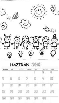 Okul Öncesi 2018 Boyama Sayfalı Takvimi
