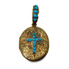 Ornate Antique Hand Engraved Victorian Turquoise Locket