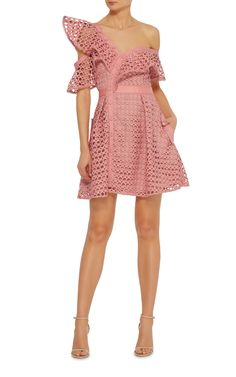 Ruffled Off The Shoulder Dress by SELF PORTRAIT Now Available on Moda Operandi