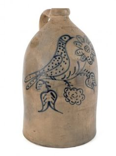 Massachusetts four-gallon stoneware jug, mid 19th c., inscribed Edmands & Co