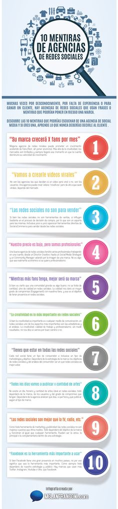 10 mentiras de agencias de Social Media que deberías conocer antes de contratar a una o que deberías prevenir decir si eres una #SocialMedia #Infografias #RedesSociales