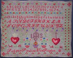 A 19th Century BELGIAN Sampler Stitched By Pauline Van Tichelen & Dated 1874 ~ eBay