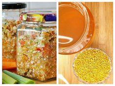Tocați toate legumele și lămâile prin mașina de carne sau robotul de bucătărie. Adăugați polenul și mierea Home Remedies, Spirulina, Tudor, Vegetables, Plants, Dna, Food, Medicine, Varicose Veins