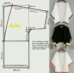 Mi versión del Kimono Kimono es una prenda con larga historia (como much. - Tesettür Tunik Modelleri 2020 - Tesettür Modelleri ve Modası 2019 ve 2020 Diy Clothing, Sewing Clothes, Dress Sewing Patterns, Clothing Patterns, Fashion Sewing, Diy Fashion, Sewing Hacks, Sewing Tutorials, Sewing Ideas