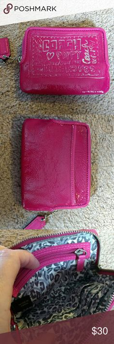 Coach pink patent Wristlet Three credit card slots and zipper for change. Coach Bags Clutches & Wristlets