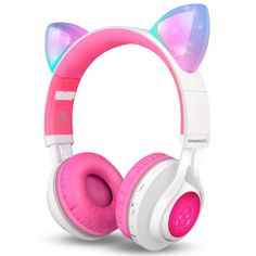 Bluetooth Headphones, Riwbox Cat Ear LED Light Up Wireless Foldable Headphones Over Ear with Microphone and Volume Control for iPhone/iPad/Smartphones/Laptop/PC/TV (White&Pink) Cat Headphones, Headphones With Microphone, Sports Headphones, Bluetooth Headphones, Wireless Headset, Beats By Dre, Smartphone, Ipad, Unicorn Fashion