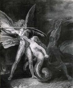 Satan and Death with Sin Intervening (from Paradise Lost)