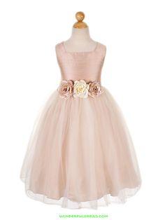 Dustyrose Silk Bodice with Tulle Skirt Flower Girl Dress