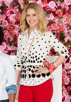 "O has again partnered with Talbots on a capsule collection that benefits a great cause: Dress for Success. Sara Haines said of this bright and bold look, ""I can't believe I'm wearing two polka dot pieces, but it works! And then I put on the red pants and instantly felt like I was the girl at the party everyone was staring at—in a good way!"" Cardigan, $89.50, scarf, $59.50, bangles, $34.50 each, O The Oprah Magazine Collection for Talbots. Button-down, pants $89.50, and belt $49.50, Talbots"
