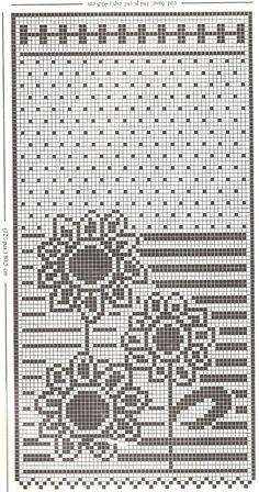 """Da revista """"Ganchillo artistico"""" de 1998, uma cortina com girassois.  manela"""
