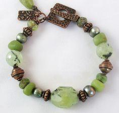 20% OFF SALE - Prehnite Bracelet with Jade and Copper - Amazon