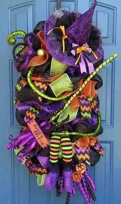 Halloween deco mesh wreathWitch Swag by WonderfulWreathsKim, $149.00