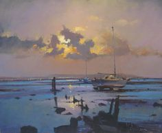 Peter Wileman Fine Art Paintings | peter_wileman_original_painting_Moon_Rising_over_Caldy_Beach.jpg