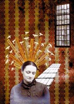 kim lindvall. his eye is on the sparrow. 2013. asylum collage series.