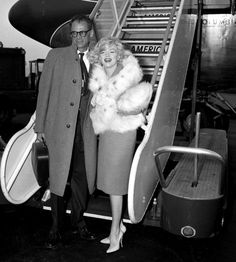 "Marilyn and Arthur Miller arriving in Los Angeles for the filming of ""Let's Make Love"", November 2nd 1959."