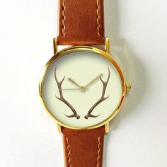 Antler Watch Deer Watches for Women Men Leather Ladies Jewelry Accessories Gift Ideas Spring Fashion Personalized Unique Vintage Forest Boho Freeforme