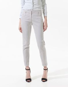 STRIPED CROPPED TROUSERS - Trousers - Woman - ZARA United States