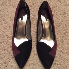 Two tone suede heels Purple and black suede heels. Worn 1x to a TCU football game! Daisy Fuentes Shoes Heels