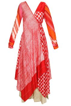 Red and white block print angrakha style kurta with beige palazzos available… Indian Attire, Indian Wear, Indian Dresses, Indian Outfits, Salwar Kameez, Sharara, Angrakha Style, Look Short, Kurta Designs