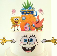 Black Background Wallpaper, Black Backgrounds, Pastel Bob, 4th Birthday, Birthday Cake, Cake Decorating Techniques, Spongebob, Cake Designs, Disney Characters
