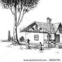 Hand drawn traditional house vector