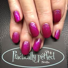 CND Shellac in Magenta Mischief with glitter fade. Don't normally have a bright pink but love this one :)