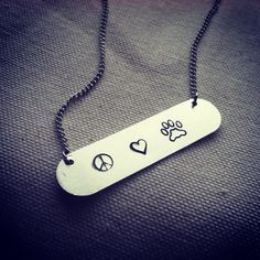 hand stamped peace love paw 16' silver necklace by LoveIsACross, $24.99 Support a cause 50% of profit goes to AARF - dog cat no kill animal shelter rescue