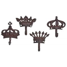Shabby Cottage Chic Crown Decorative Wall Hooks by Upper Deck Decorative Wall Hooks, Rustic Irons, Iron Wall, Shabby Chic Cottage, Bar Furniture, Coat Hooks, Room Themes, Ceiling Lights, Upper Deck